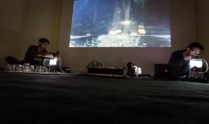 Hicham Berrada and Laurent Durupt live performance. Photo: Remis Ščerbauskas