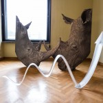 Katja Novitskova, Pattern of Activation (Rhinos), 2014.  Courtesy of Lewben Art Foundation, Kraupa – Tuskany Zeidler and the artist. Photo: Remis Ščerbauskas